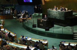 His Excellency was unburdened by many attendees at his UN speech
