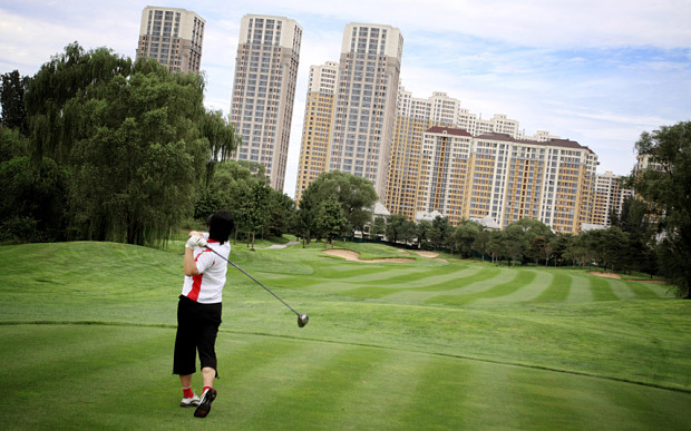 A man plays on an illegal golf course somewhere