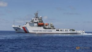 A Chinese coast guard vessel on its way to harass crabs near Scarborough Shoal