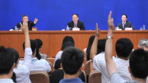 Officials at the Ministry of Defensiveness meet the press